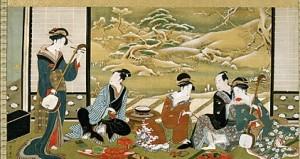 Un gruppo di Geishe intrattengono gli ospiti suonando e bevendo tè.