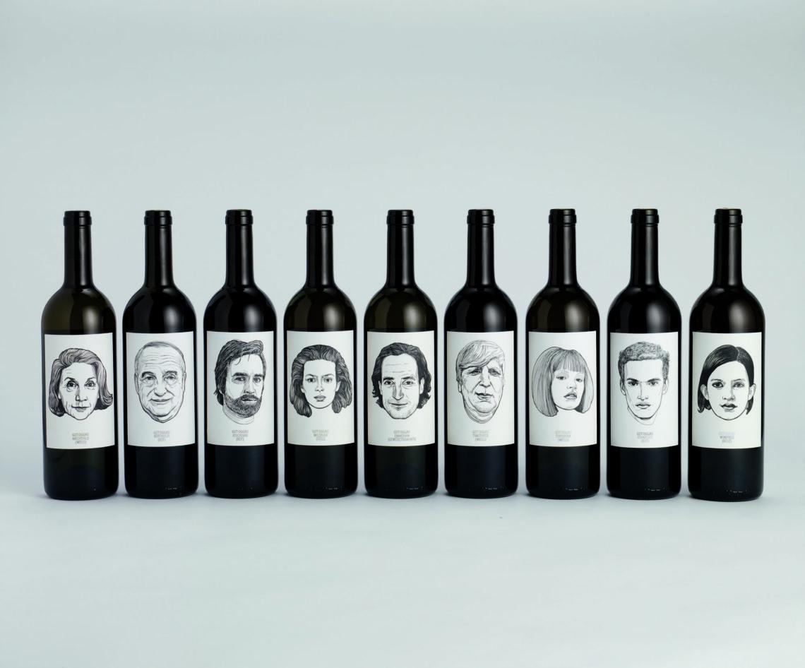 """Vini dell'azienda vinicola a austriaca Oggau Estate, Progetto grafico di Jung Von Matt. """"Come ogni essere umano ogni vino ha il suo carattere"""""""