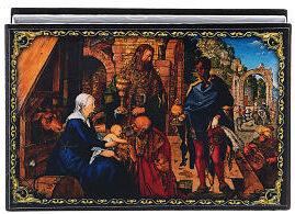 scatola russa raffigurante la nascita di Gesù